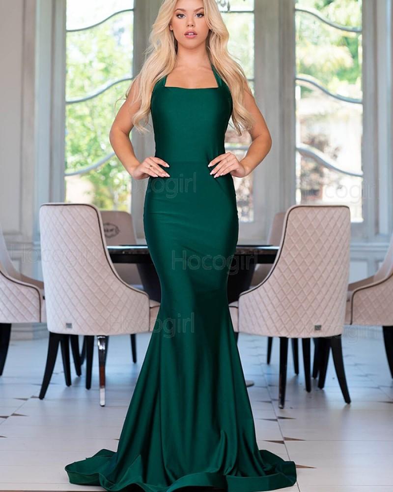 Halter Simple Satin Green Mermaid Style Prom Dress pd1568