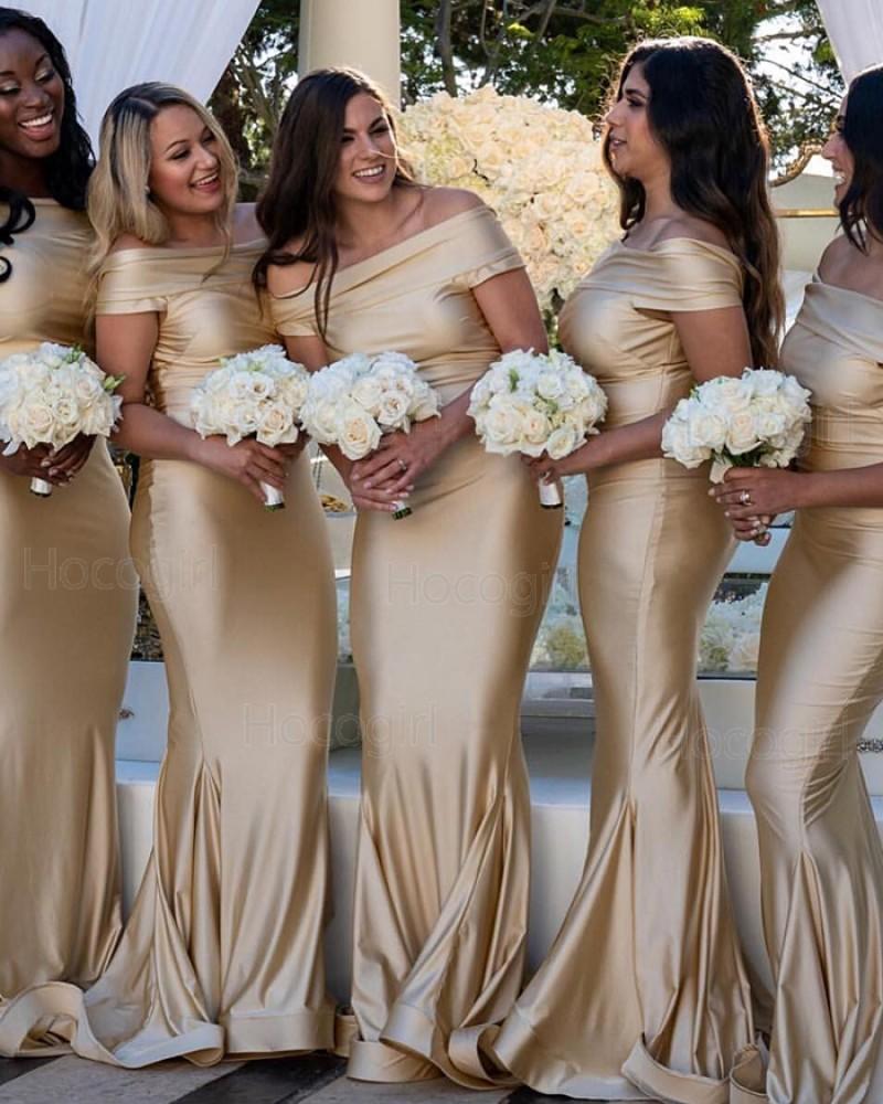 Off the Shoulder Champagne Satin Mermaid Bridesmaid Dress pd1572
