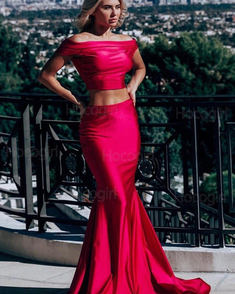 Simple Two Piece Off the Shoulder Red Satin Mermaid Prom Dress pd1575
