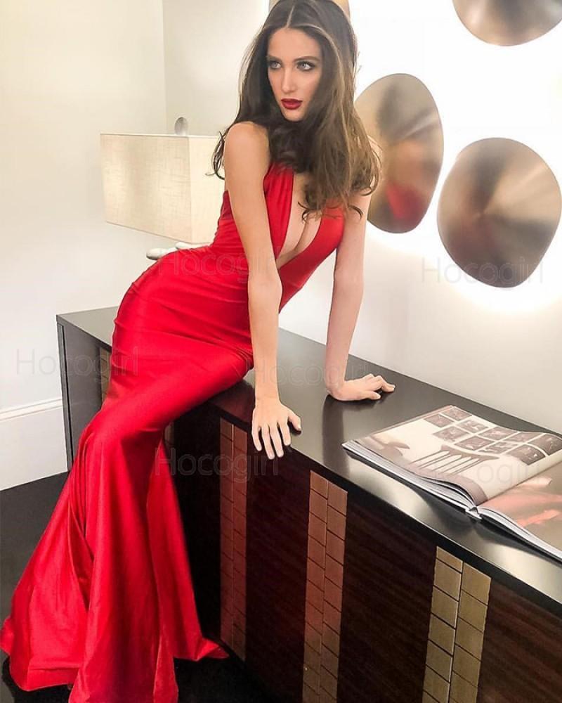 Simple Deep V-neck Satin Red Mermaid Evening Dress pd1585
