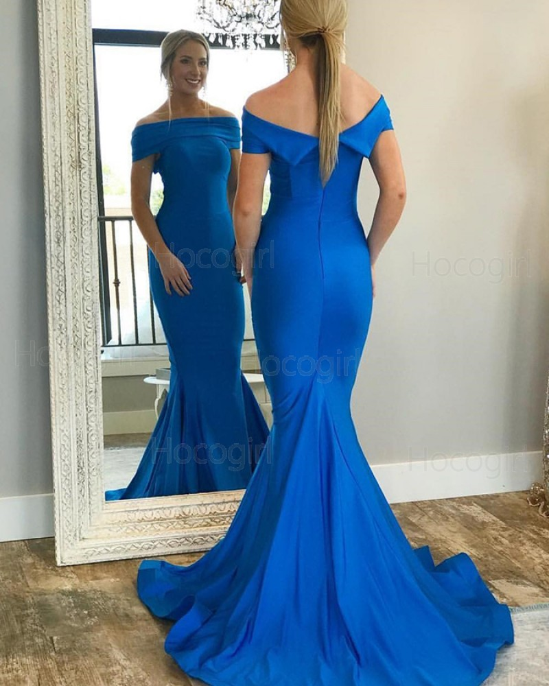 Simple Off the Shoulder Blue Mermaid Prom Dress pd1586