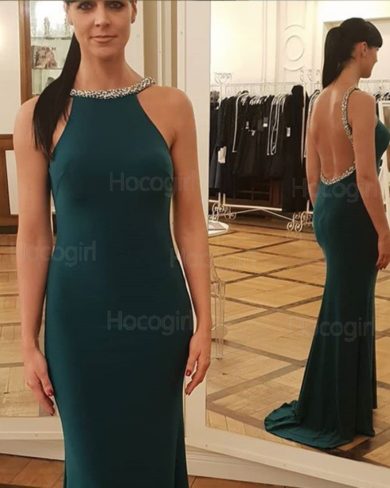 Jewel Dark Green Beading Satin Mermaid Prom Dress pd1593