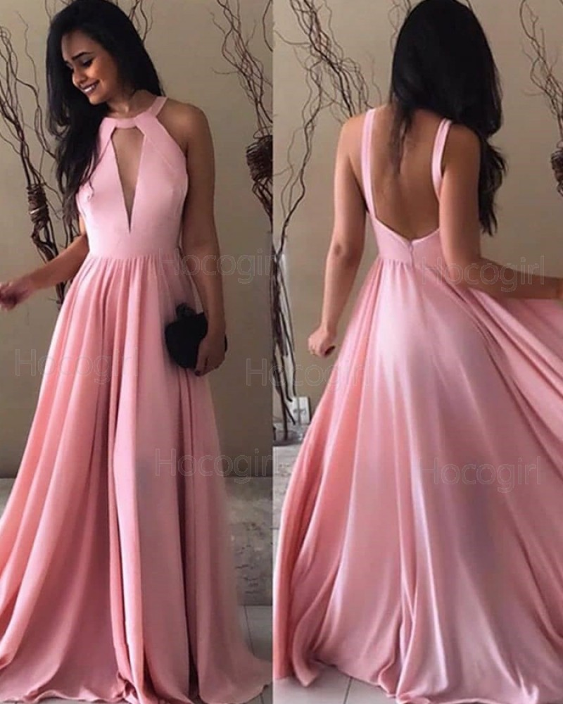 Simple High Neck Cutout Pink Pleated Long Prom Dress pd1597