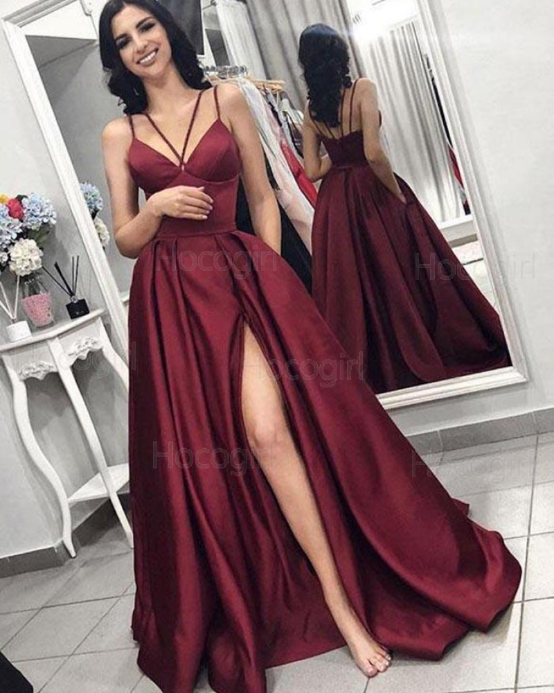 Double Spaghetti Straps Burgundy Satin Pleated Prom Dress with Side Slit pd1602
