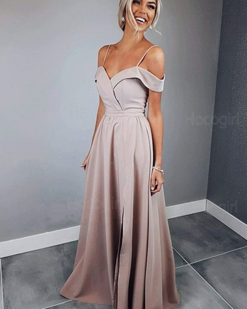 Spaghetti Straps Satin Nude A-line Prom Dress with Side Slit pd1610