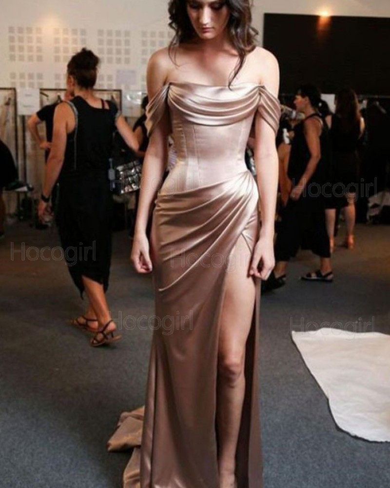 Off the Shoulder Chocolate Satin Sheath Long Formal Dress pd1612