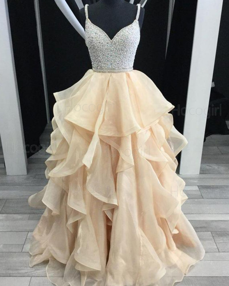 V-neck Beading Bodice Long Formal Dress with Ruffled Champagne Skirt pd1616