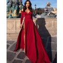 Off the Shoulder Satin Burgundy Long Sleeved Evening Dress with High Slit PD1039
