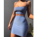 Amazing Two Piece Square Tight Blue Sheath Club Dress HD3114