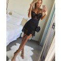 Spaghetti Straps Black Lace Asymmetric Party Dress HD3239