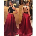 High Neck Black and Red Satin Cutout Long Prom Dress PM1157