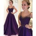 Scoop Beading Blue Aline Satin Long Prom Dress PM1194