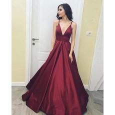 Long Deep V-neck Satin Burgundy Evening Gown with Pockets PD1021