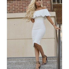 off the Shoulder White Knee Length Graduation Dress HD3188