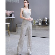 Unique Silver V-neck Sequin Jumpsuit for Evening Party HG20447