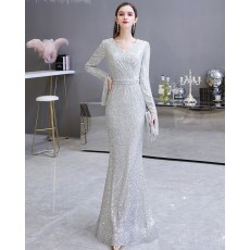 Elegant Silver Sequin Mermaid Evening Dress with Long Sleeves HG24441