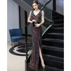 Elegant V-neck Colored Sequin Mermaid Evening Dress with Beading Sleeves HG24444