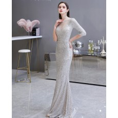 High Neck Silver Sequin Mermaid Evening Dress with Half Length Sleeves HG26454