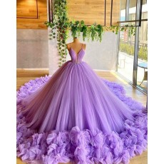 Spaghetti Straps Lavender Beading Bodice Tulle Evening Dress with Handmade Flowers PD2030