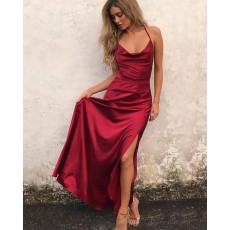 Simple Spaghetti Straps Tight Red Satin Long Prom Dress with Side Slit PM1172