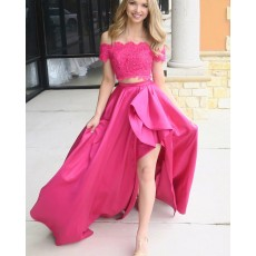 Off the Shoulder Two Piece Beading Red Prom Dress with Side Slit PM1417
