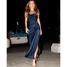 Spaghetti Straps Navy Blue Satin Formal Dress with Side Slit PM1885