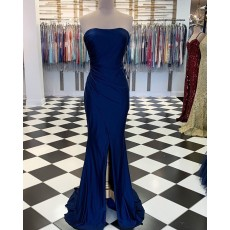 Simple Strapless Ruched Navy Blue Satin Mermaid Prom Dress with Middle Slit PM1890