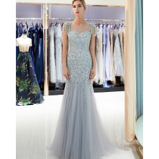 Jewel Beading Sheer Grey Mermaid Evening Dress with Cap Sleeves QD006
