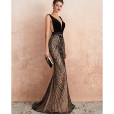 Gorgeous V-neck Black Sequin Lace Mermaid Evening Dress QD062