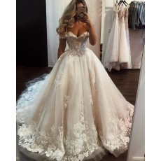 Off the Shoulder Lace Applique Tulle Ivory Wedding Dress