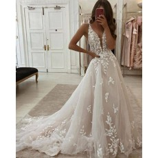 V-neck Lace Applique Ivory A-line Wedding Dress WD2436