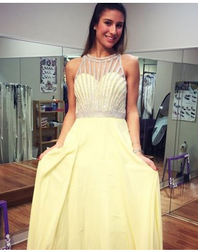 High Neck Yellow Beading Chiffon Floor Length Prom Dress PD1002