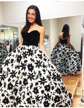 Elegant Long Sweetheart Floral Print Ball Gown Prom Dress PD1006