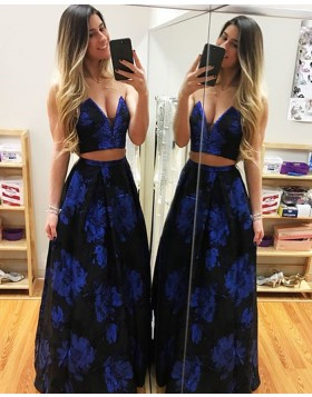 Long Two Piece Sweetheart Floral Print Satin Prom Dress PD1007
