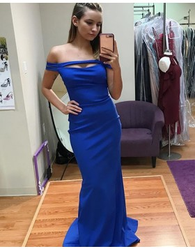 Long Royal Blue Off the Shoulder Cutout Satin Mermaid Prom Dress PD1010