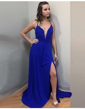 Long Spaghetti Ruched Blue Chiffon Prom Dress with Front Slit PD1011