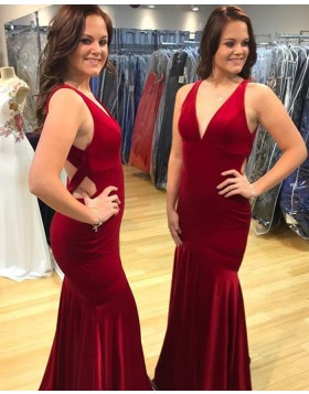 Long Red V-neck Satin Mermaid Prom Dress with Open Back PD1012