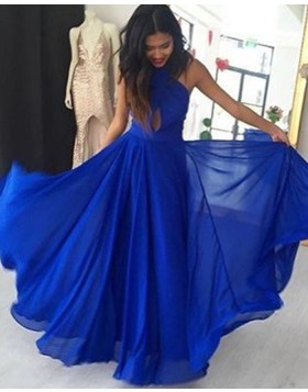 High Neck Cutout Chiffon Blue Pleated Long Prom Dress PD1013