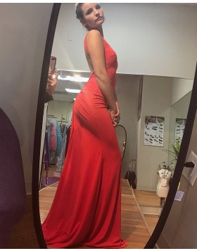 Long Deep V-neck Red Satin Backless Mermaid Prom Dress PD1015