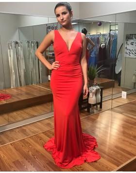 Long Deep V-neck Red Satin Backless Mermaid Prom Dress PD1015
