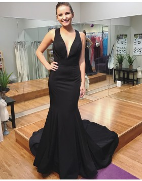 Deep V-neck Satin Mermaid Evening Dress with Court Train PD1017
