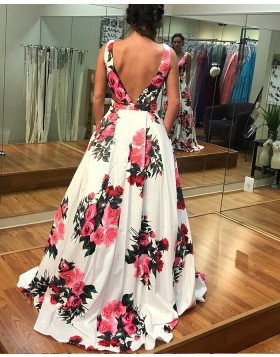 Long Floral Print Satin Prom Dress with Pockets PD1019