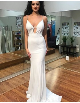 Long White Chiffon Spaghetti Cutout Mermaid Prom Dress PD1020