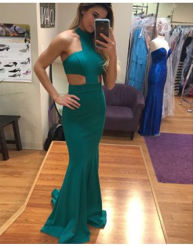 Long High Neck Cutout Satin Green Mermaid Prom Dress PD1022