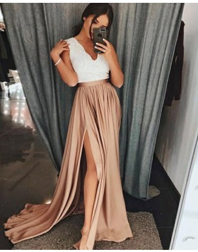 V-neck White and Brown Satin Prom Dress with High Slit PD1023