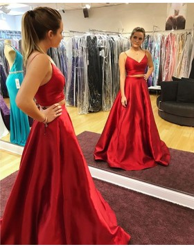 Two Piece Spaghetti Straps Satin Red Prom Dress with Pockets PD1024