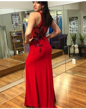 Long Scoop Red Appliqued Chiffon Sheath Prom Dress with High Slit PD1025