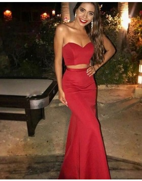 Long Two Piece Red Sweetheart Mermaid Prom Dress PD1027