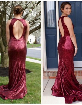 Jewel Mermaid Rose Red Sequined Mermaid Prom Dress with Open Back PD1028