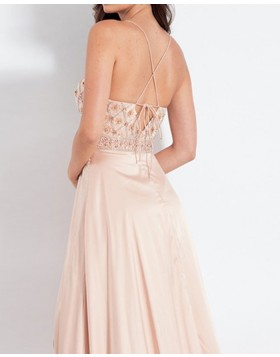 Spaghetti Straps V-neck Beading Chiffon Nude Prom Dress with Slit PD1030